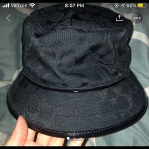 NWT black logo coach bucket hat